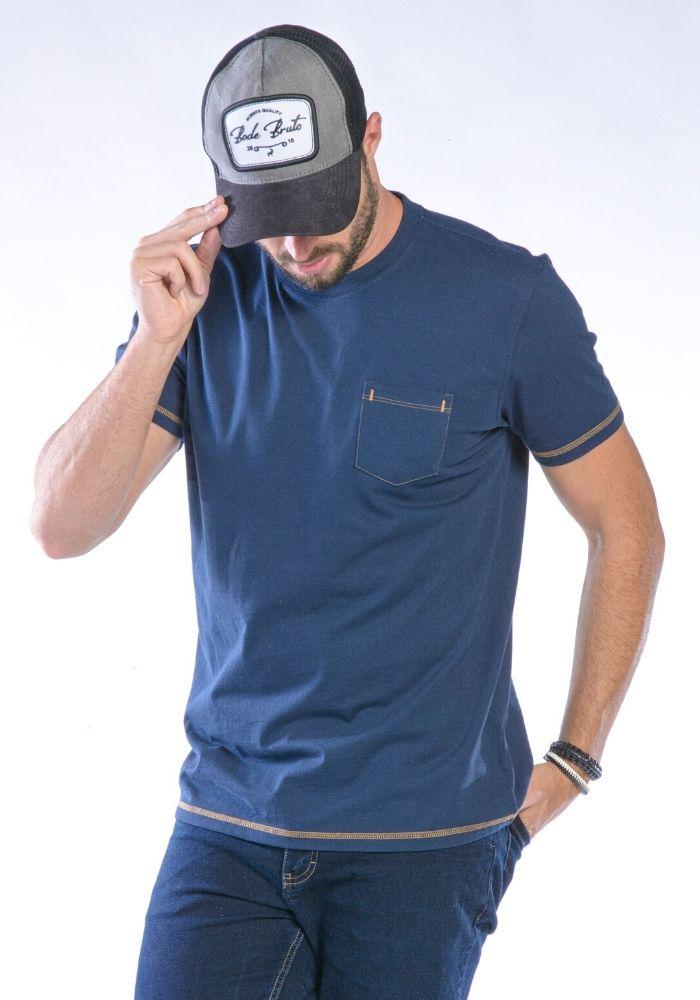 Camiseta Manga Curta Marinho Básica
