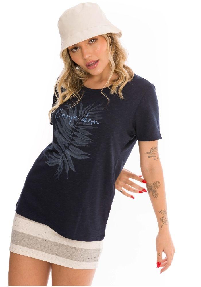 Camiseta Manga Curta Marinho Carpe Dien