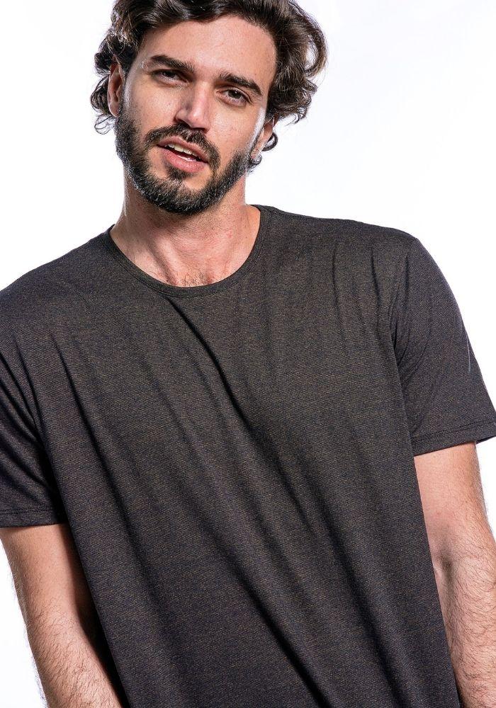 Camiseta Manga Curta Basics Cia Gota Marrom Mescla