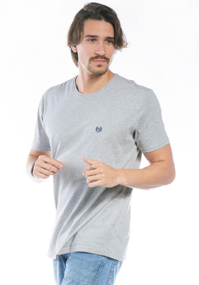 Camiseta Manga Curta Cinza Logo Básica Cia Gota