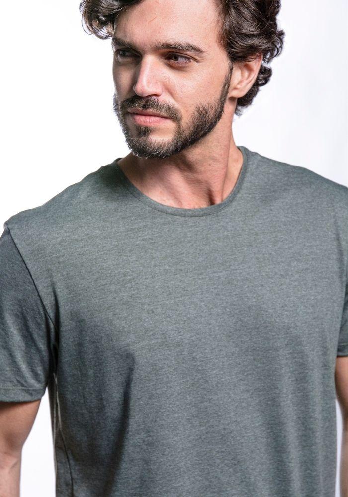 Camiseta Manga Curta Basics Cia Gota Militar Mescla