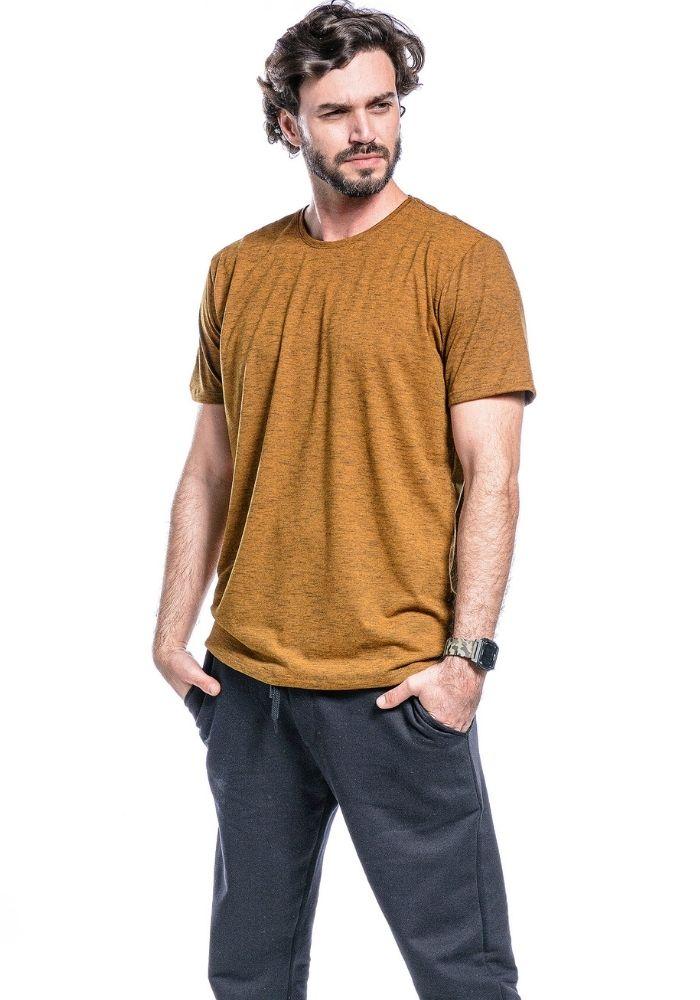 Camiseta Manga Curta Basics Cia Gota Mostarda Mescla