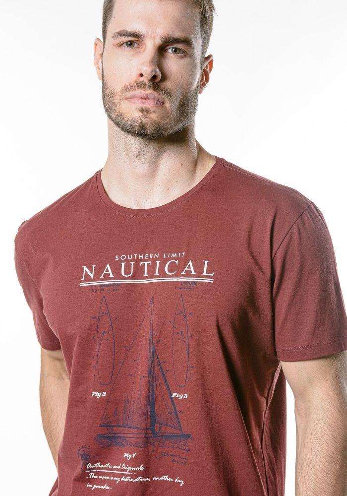 Camiseta Manga Curta Nautical Cia Gota Bordô