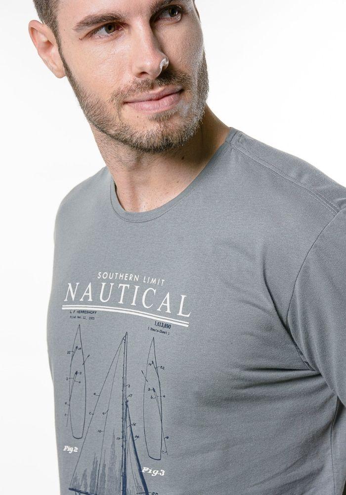Camiseta Manga Curta Nautical Cia Gota Cinza