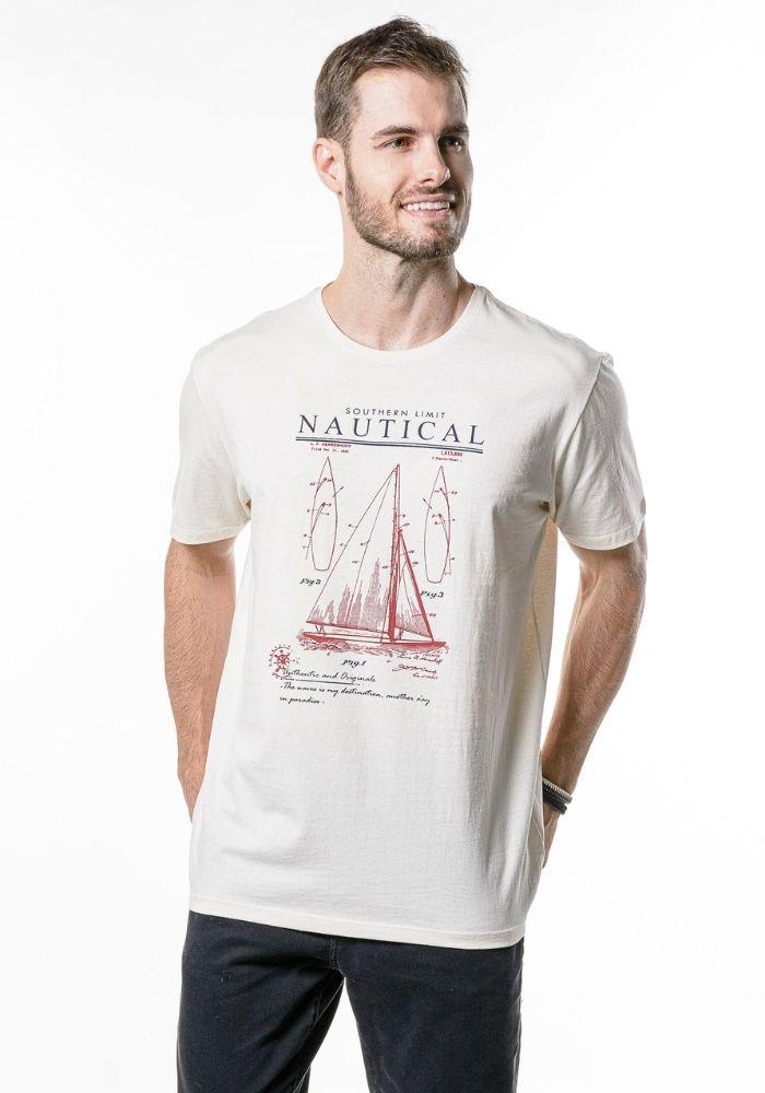 Camiseta Manga Curta Nautical Cia Gota Off White