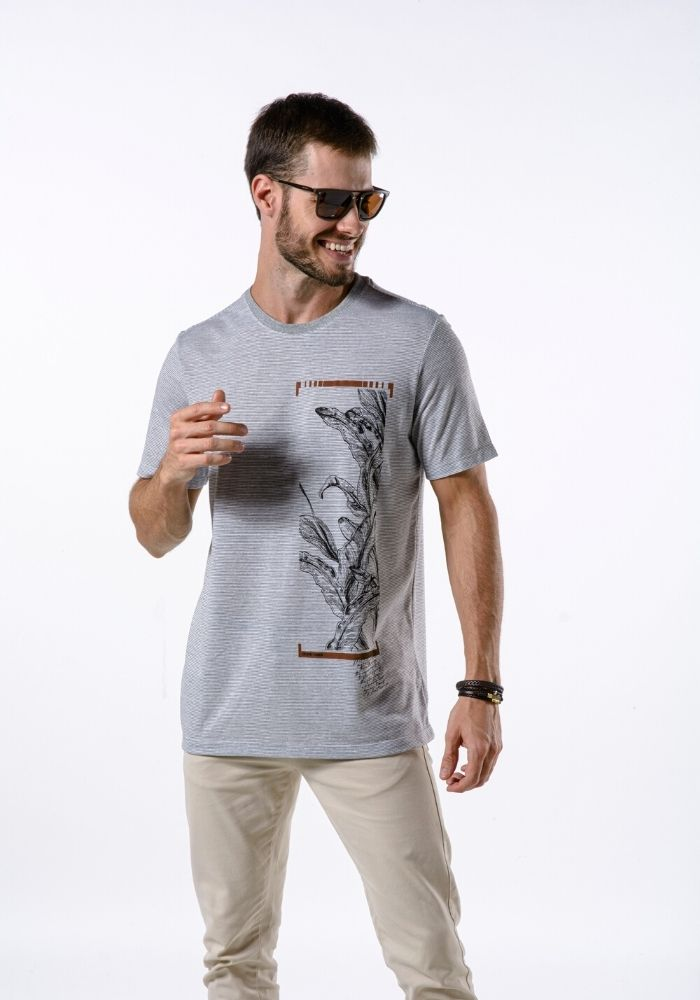 Camiseta Manga Curta Ocean Vibes Cinza Mescla