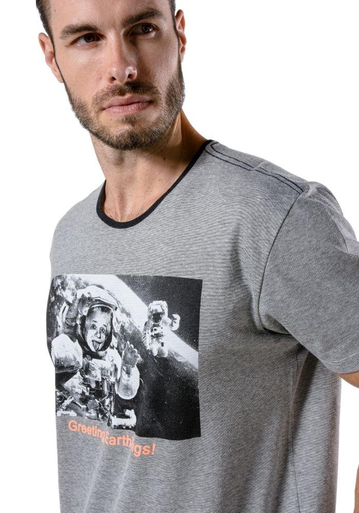 Camiseta Manga Curta Oversize Einsten Cinza Mescla