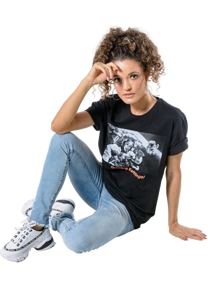 Camiseta Manga Curta Oversize Einsten Preta