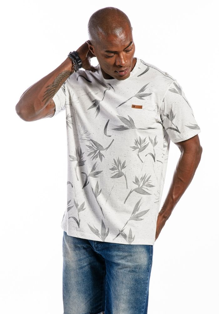 Camiseta Manga Curta Paradise Flower Branca