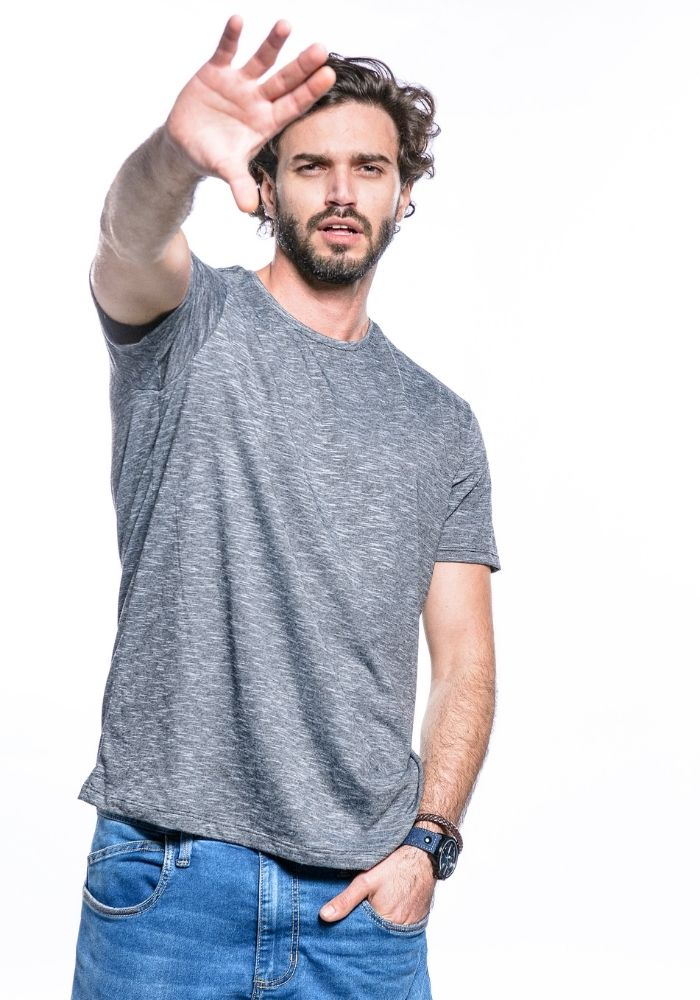 Camiseta Manga Curta Basics Cia Gota Preto Mescla