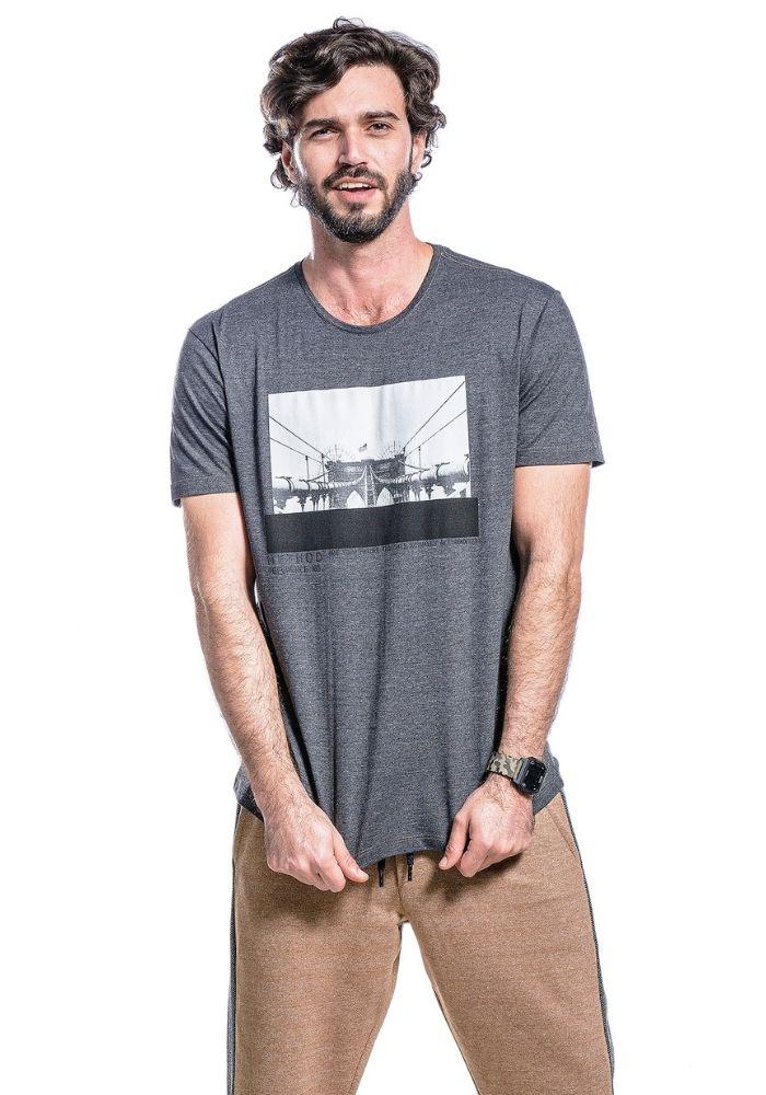 Camiseta Manga Curta Preto Mescla City