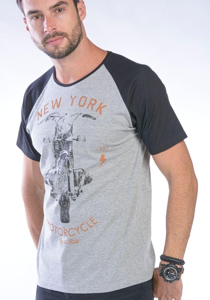 Camiseta Manga Curta Preto NEW YORK