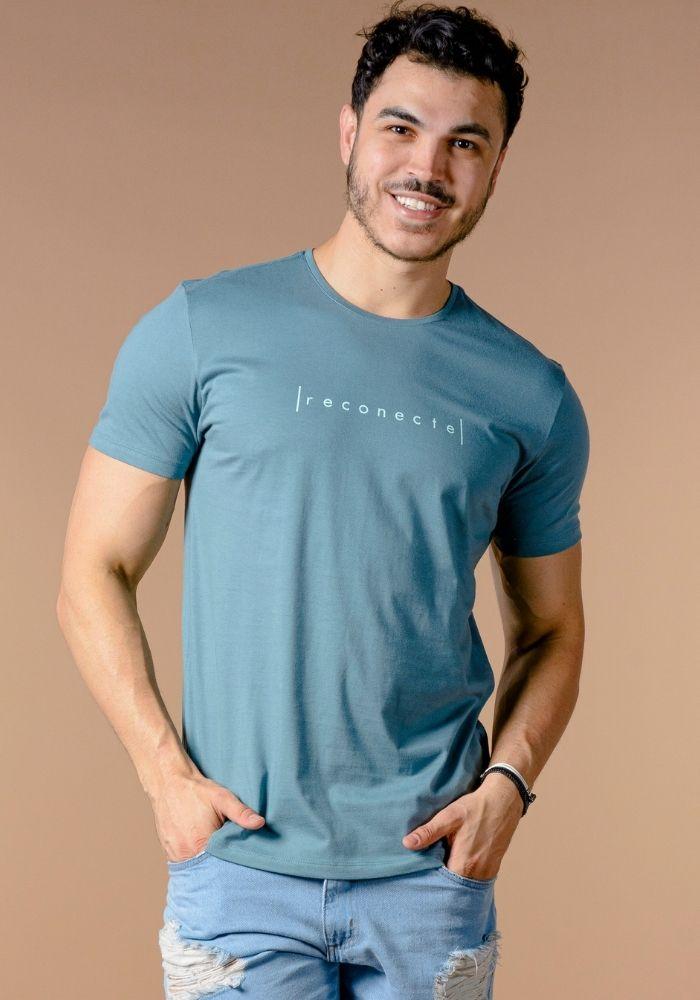 Camiseta Manga Curta Reconecte Verde Petróleo
