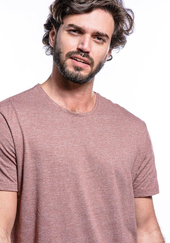 Camiseta Manga Curta Basics Cia Gota Rosa Mescla