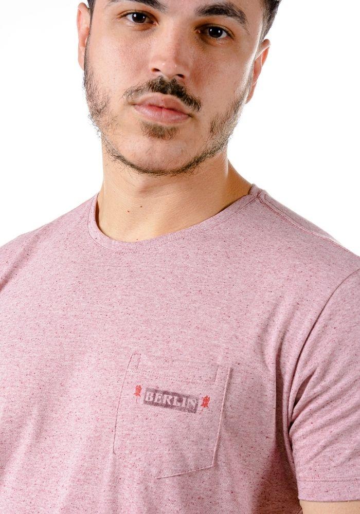 Camiseta Manga Curta Rosa Mescla Berlin