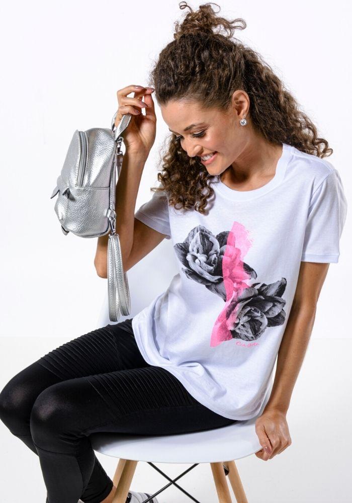 Camiseta Manga Curta Roses Cia Gota Woman Branca
