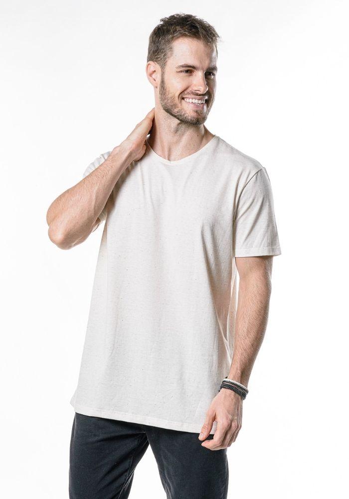 Camiseta Manga Curta Smiles Today Amêndoa