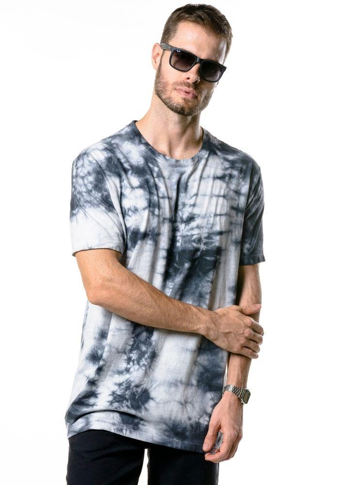 Camiseta Manga Curta Tie Dye Urban Figha Cinza