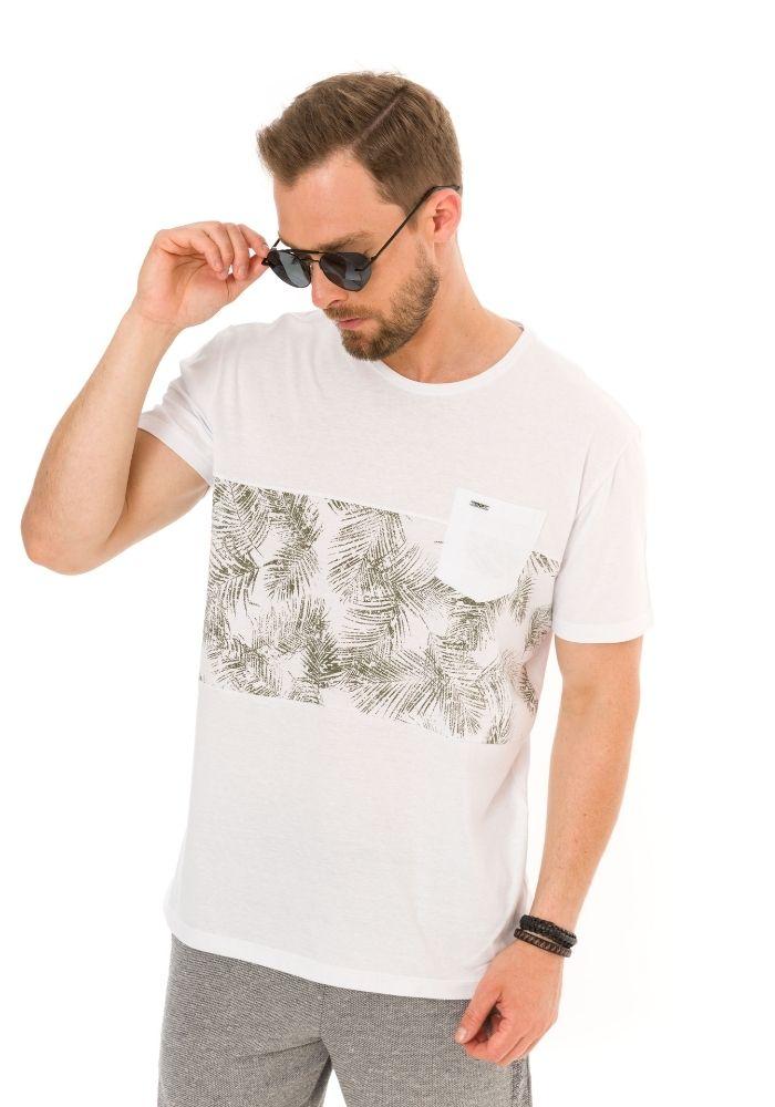 Camiseta Manga Curta Tropical Leaves Branca