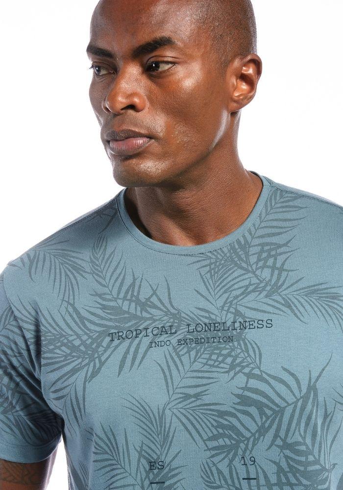 Camiseta Manga Curta Tropical Summer Petróleo