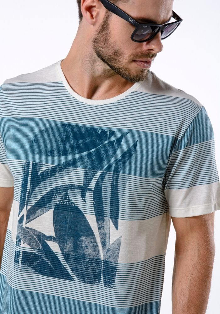 Camiseta Manga Curta Tropical Vibes Off White
