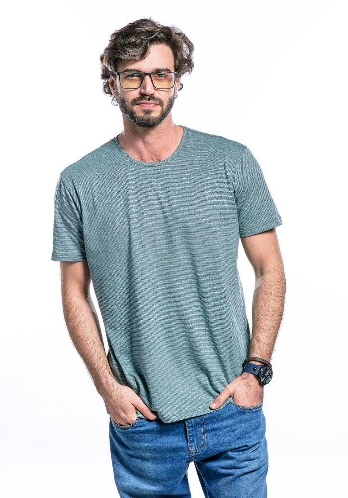 Camiseta Manga Curta Basics Cia Gota Turquesa