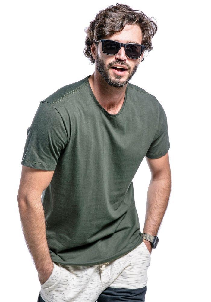 Camiseta Manga Curta Verde Militar Basics Cia Gota