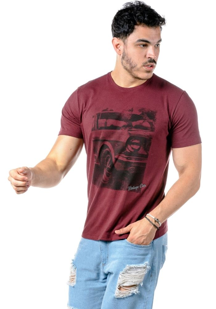 Camiseta Manga Curta Vintage Car Bordô