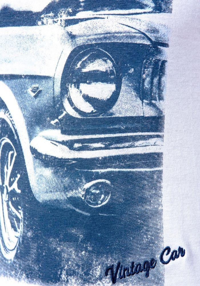 Camiseta Manga Curta Vintage Car Branca