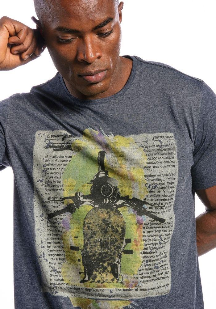 Camiseta Manga Curta Vintage Club Marinho Mescla