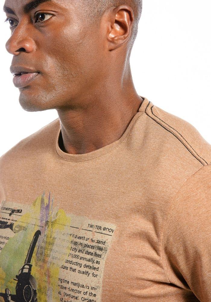 Camiseta Manga Curta Vintage Club Mostarda