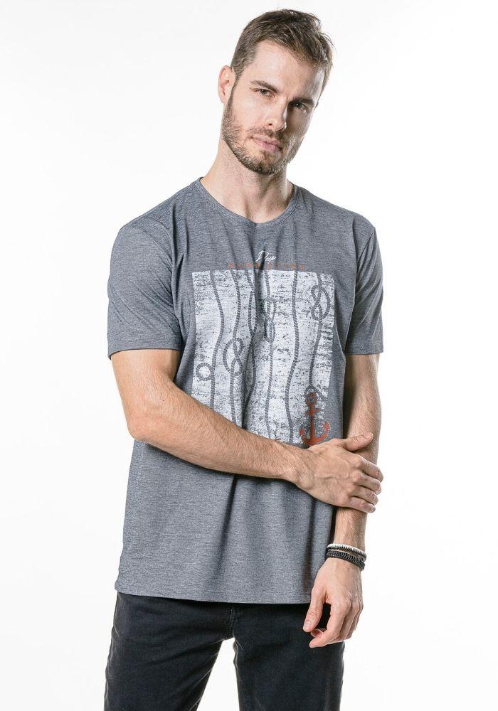 Camiseta Manga Curta Water and Sand Preto Mescla