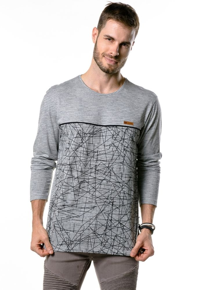 Camiseta Manga Longa Abstract Cia Gota Cinza Mescla