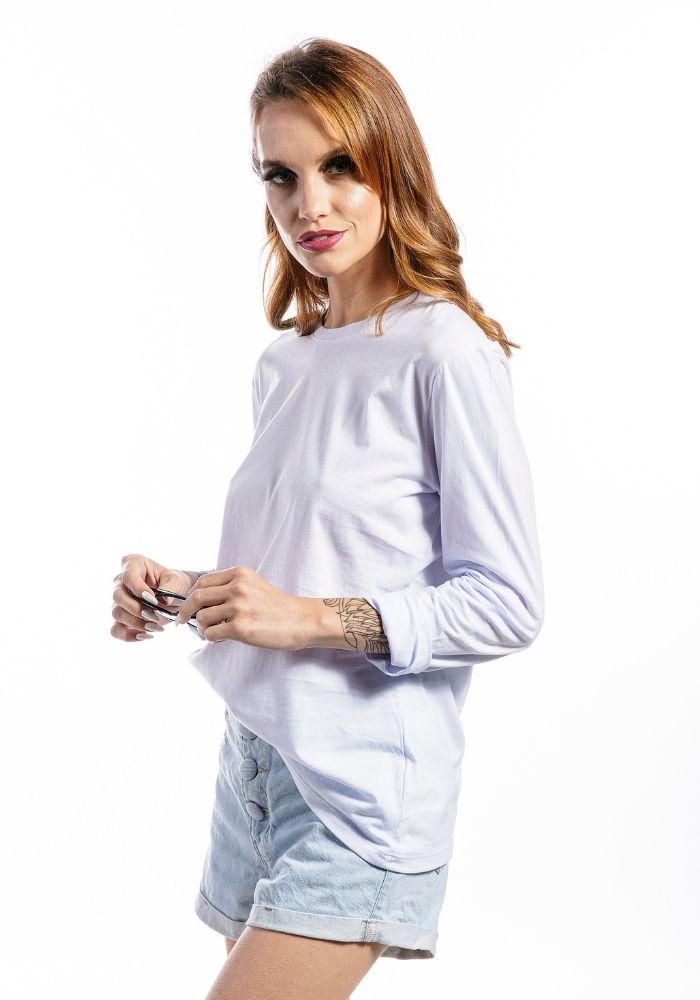 Camiseta Manga Longa Feminina Branca Basic