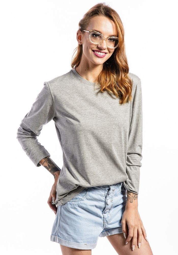 Camiseta Manga Longa Feminina Mescla Basic