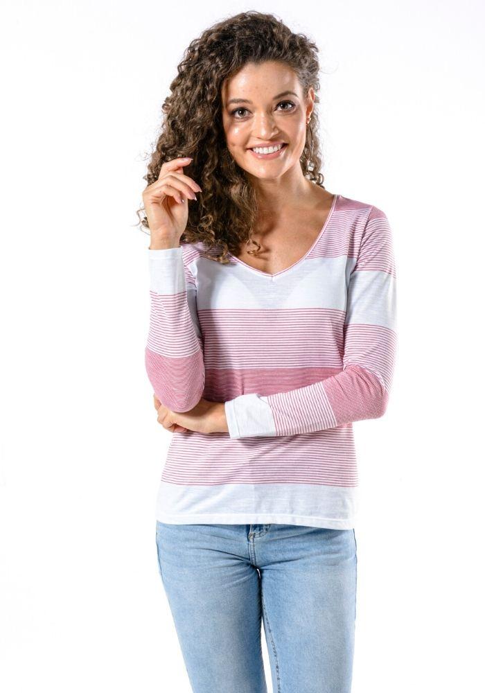 Camiseta Manga Longa Fio Tinto Woman Colors Rosa