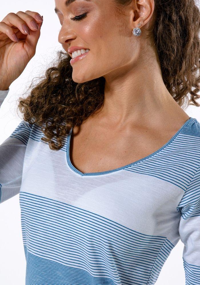 Camiseta Manga Longa Fio Tinto Woman Colors Turquesa