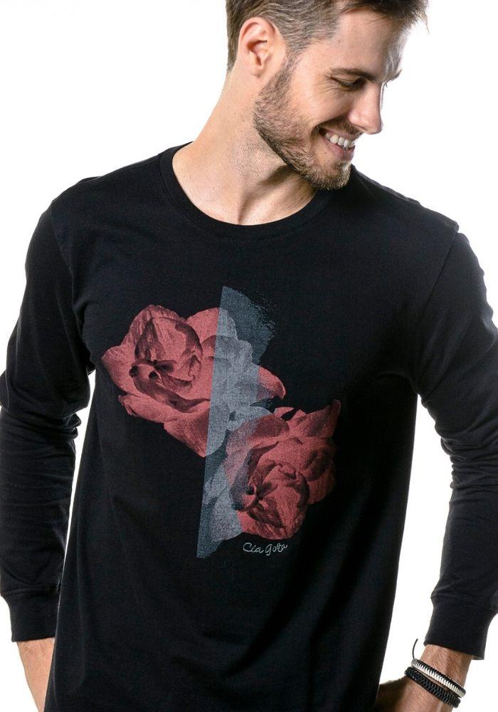 Camiseta Manga Longa Red Roses Preta