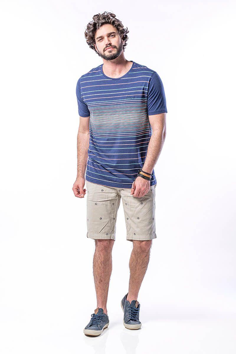 Camiseta Masculina em Algodão com Listras Coloridas - Marinho
