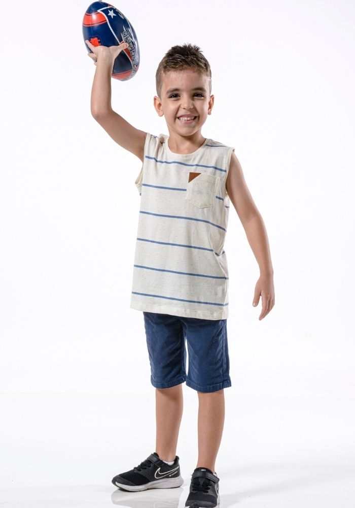 Camiseta Regata Infantil Listrada Loma Negra Off White