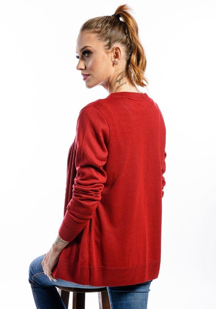 Cardigan Feminino Basic Woman Vermelho