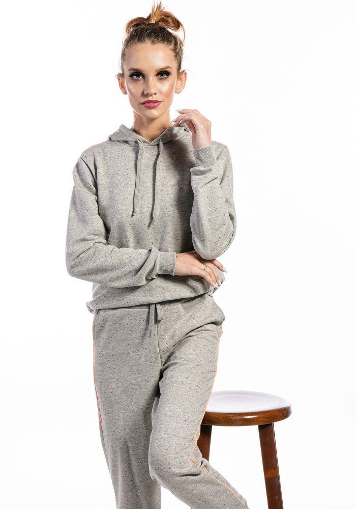 Conjunto de Moletom Feminino Confort Style Cinza Mescla