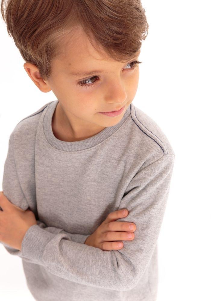 Conjunto de Moletom Infantil Basic Cinza Mescla