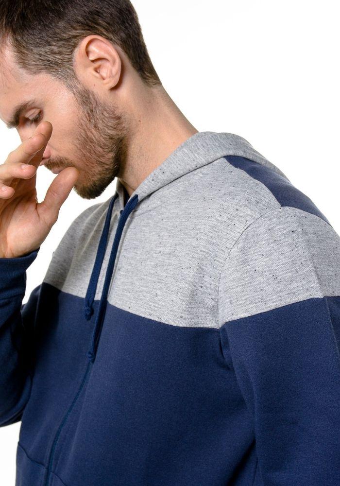 Jaqueta de Moletom C/ Capuz Basic Cutout Marinho
