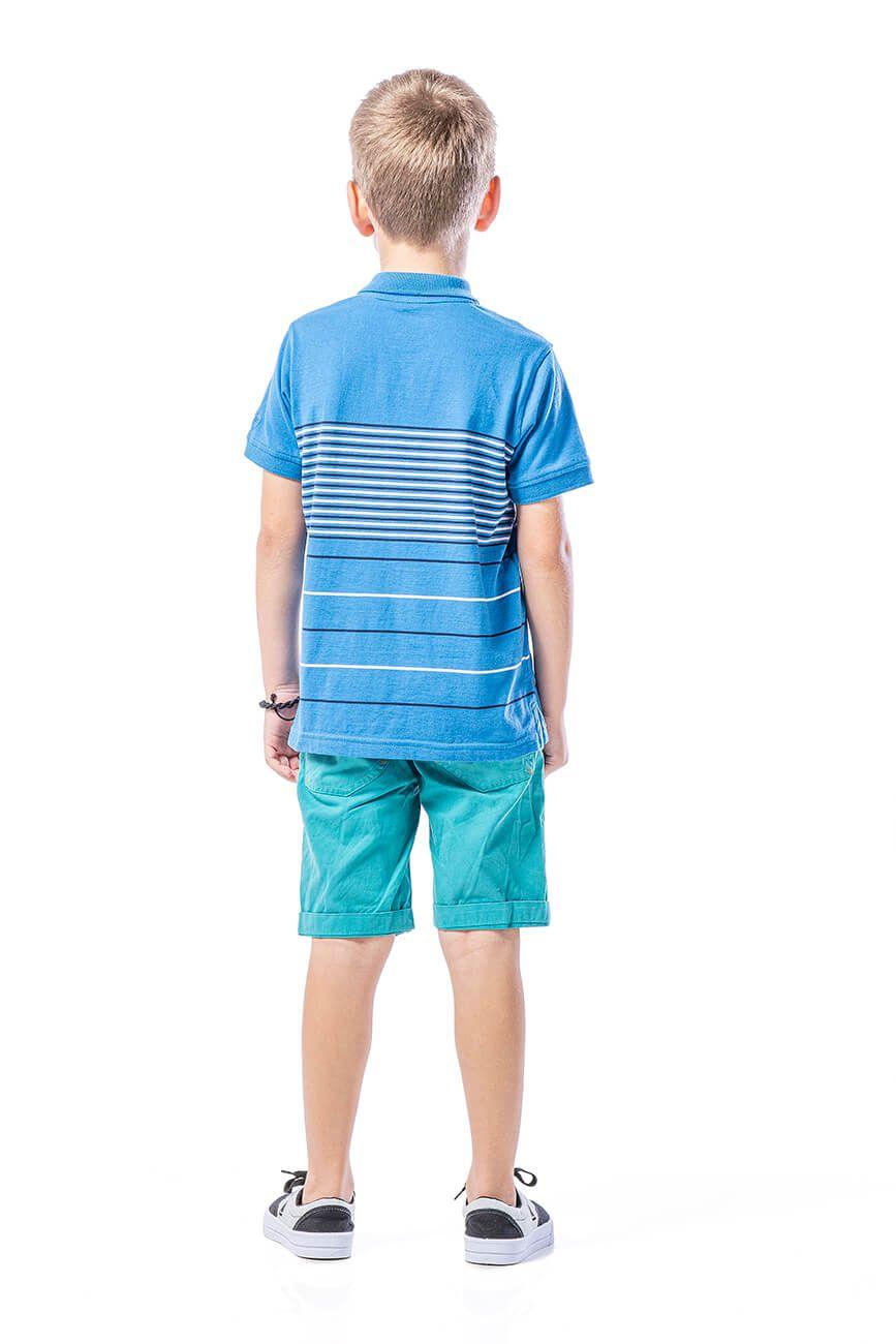 Polo Infantil em Meia Malha com Listras Finas - Azul
