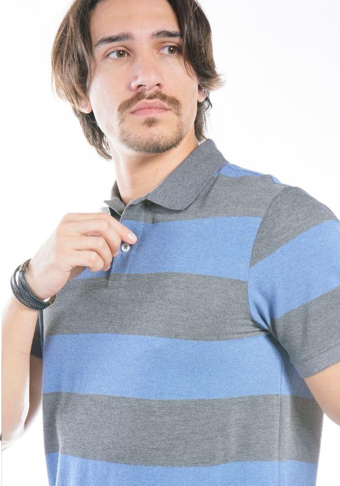Polo Manga Curta Listras Colors Azul
