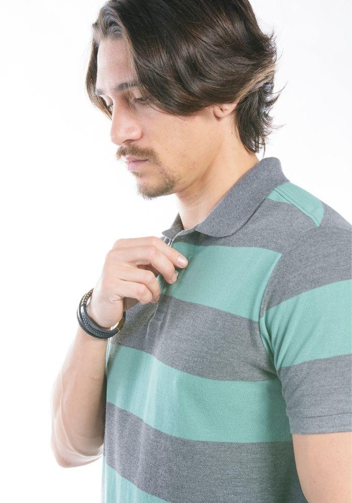 Polo Manga Curta Listras Colors Verde