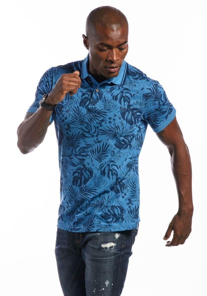 Polo Manga Curta Tropical Full Azul Médio