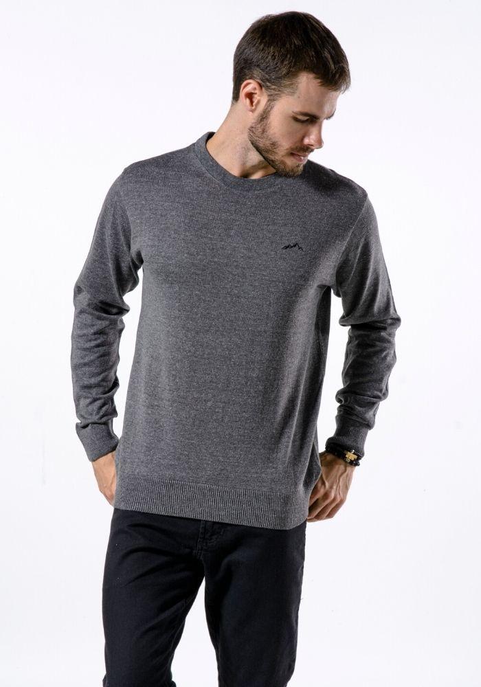 Suéter de Tricô Basic Gola Loma Negra Cinza