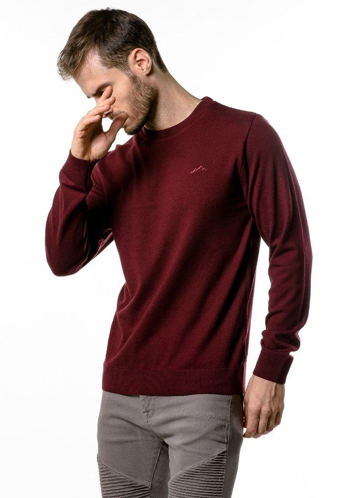 Suéter de Tricô Basic Loma Negra Vinho